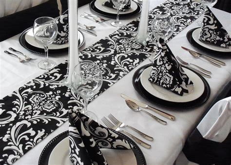 black and white table runners black and white table runner floral damask wedding table