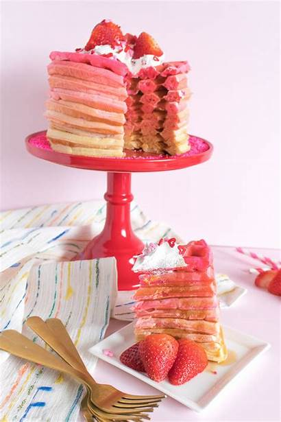 Waffle Pink Cake Ombre Stack