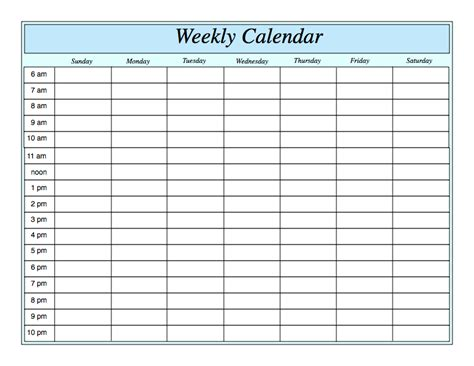 Weekly Calendar With Times Weekly Calendar Template