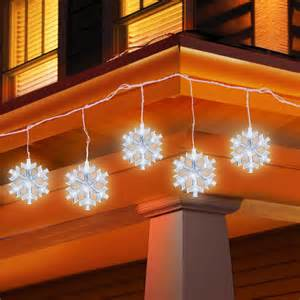 holiday time 5 count led snowflake icicle string christmas lights by holiday time
