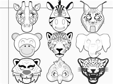 jungle animals printable coloring masks  holidaypartystar  zibbet