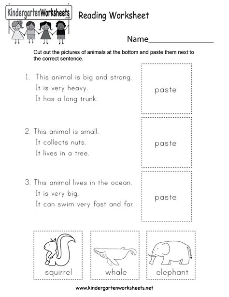 Reading Worksheet  Free Kindergarten English Worksheet For Kids