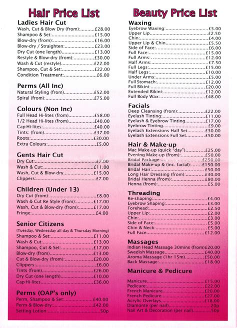 prices of haircuts hairstyle price list hairstyle price list hairstyle