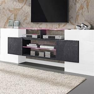 61db9ab0430c1 meuble tv laqu blanc et effet b ton cir design reality meuble tv pinterest meuble  tv