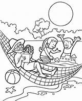 Summer Colouring Hammock 24t17 sketch template