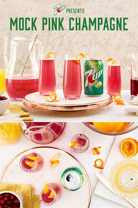 The complete drink recipe and how to make a mock pink champagne cocktail with cranberry juice, lemon lime soda, orange juice, pineapple juice, sugar, water. Mock Pink Champagne Recipe   7UP®   Recipe   Champagne recipe, Simple syrup recipes, Classic brunch