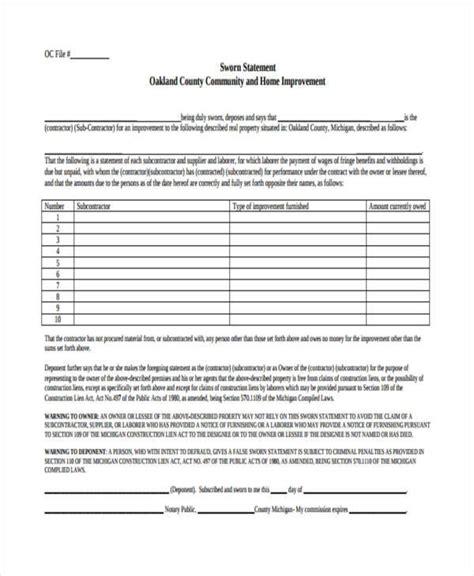 sworn statement template 32 sworn statement templates sle templates