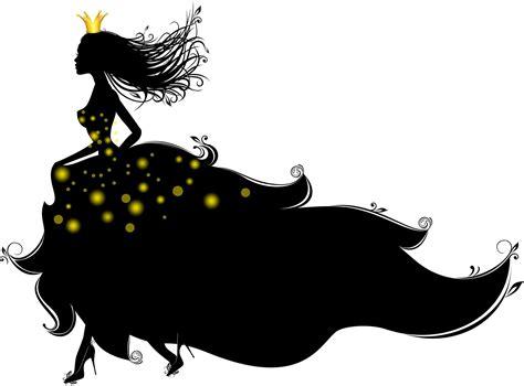 girl silhouette dress heels princess crown white