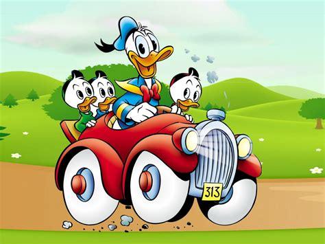 donald duck cartoon image driving car country road desktop