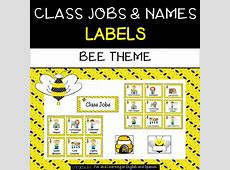 Class Jobs and Name Labels Bee Theme TpT