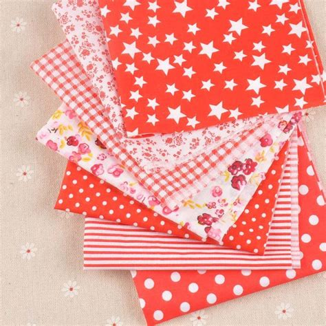mixed pcsset red patchwork fabrics  sewing bags