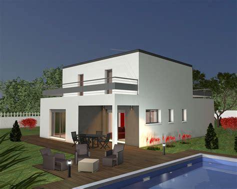 plan de maison moderne toit plat