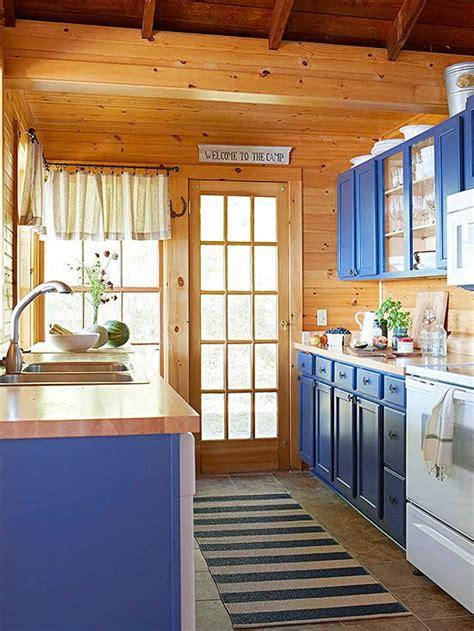 fresh maple countertops  cheery blue cabinets