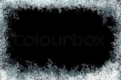 decorative ice crystals   window  stock photo