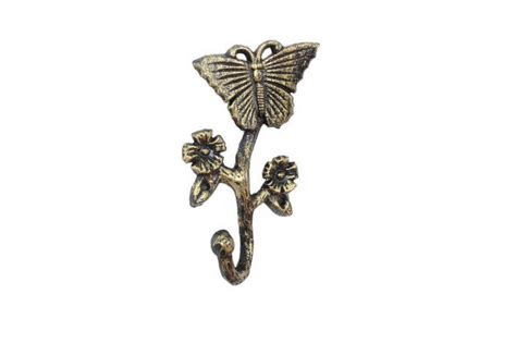 wall mountable clothes wholesale rustic gold cast iron butterfly with flowers