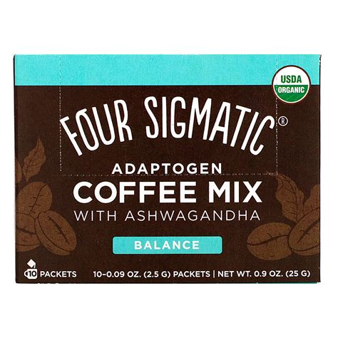 The mushroom coffees as well as the coffee latte, adaptogen ground coffee and adaptogen coffee contain organic, 100% arabica coffee, along with. Four Sigmatic, Adaptogen Coffee Mix with Ashwagandha, 10 Packets, 0.09 oz (2.5 g) Each - iHerb