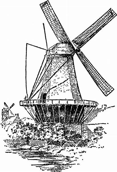 Windmill Digital Clipart Stamp Dutch Stamps Coloring