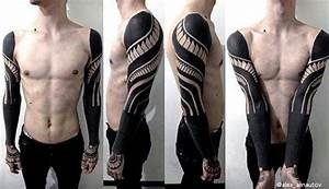 Tattoo Streifen Arm : 70 all black tattoos for men blackout design ideas ~ Frokenaadalensverden.com Haus und Dekorationen