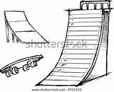 Skate Vector Ramp Skateboard Elements Illustration Sketchy Skatepark Shutterstock sketch template