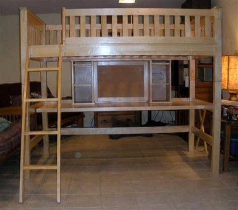 wooden childs college dorm twin size loft bunk bed