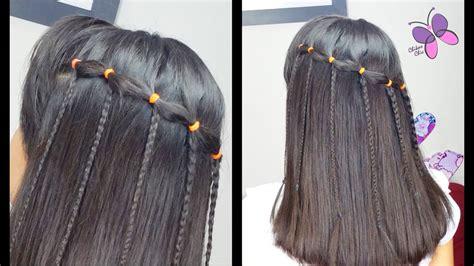 cascada  ligas peinados faciles  rapidos trenzas