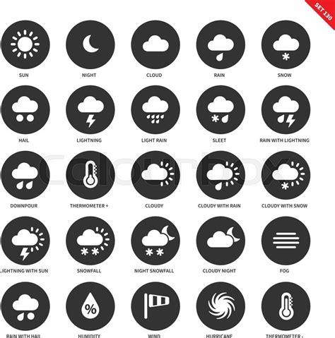weather forecasting vector icons set natural phenomenon