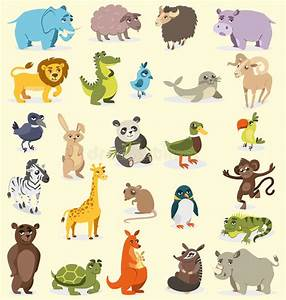 Grupo De Animais Diferentes Pássaros, Mamíferos, Répteis Desenho Do Vetor Ilustração do Vetor