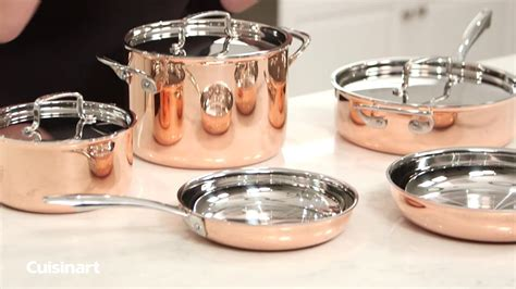 cuisinart copper collection tri ply cookware  piece copper set youtube