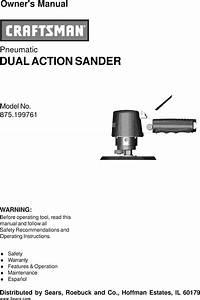 Craftsman 875199761 User Manual Dual Action Sander Manuals