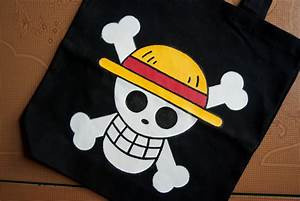 One Piece Straw Hat Jolly Roger custom painted canvas tote bag