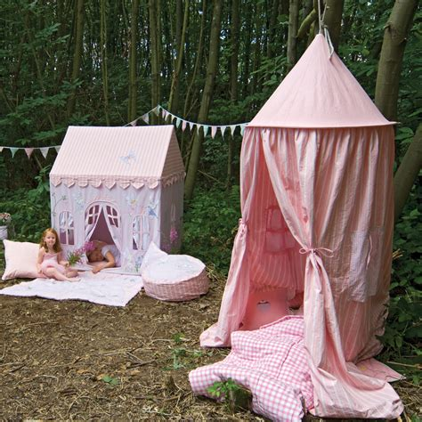 hanging canopy tent pastel pink gingham hanging tents
