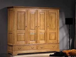Armoire Bois Massif : armoire rustique honorine 4 portes en ch ne 2 tiroirs meubles bois massif ~ Teatrodelosmanantiales.com Idées de Décoration