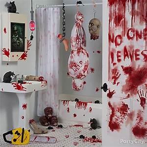 asylum bloody bath decorating idea party city With crime scene bathroom decor