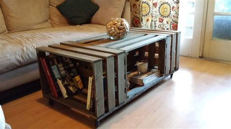 rolling rectangle wood crate coffee table wood crate