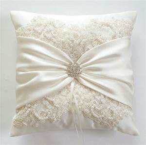 wedding ring pillow with beaded alencon lace ivory With how to make a wedding ring pillow