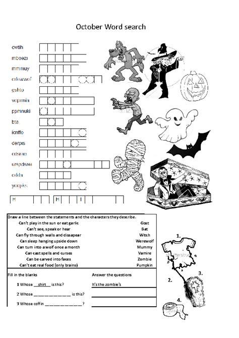 halloween double sided worksheet elementary grade 4 5