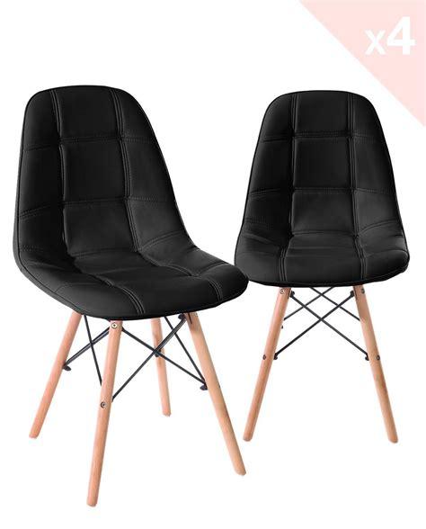 chaise design cuir noir naba lot de 4 chaises design rétro matelassées simili cuir kayelles com