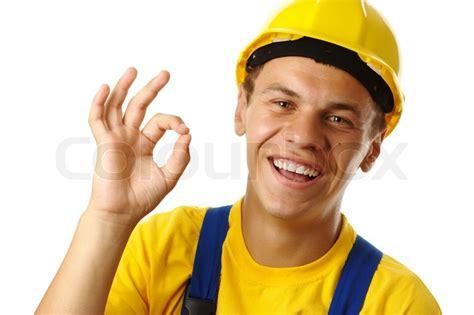 Junge Bauarbeiter Zeigt Ok Handzeichen , ...