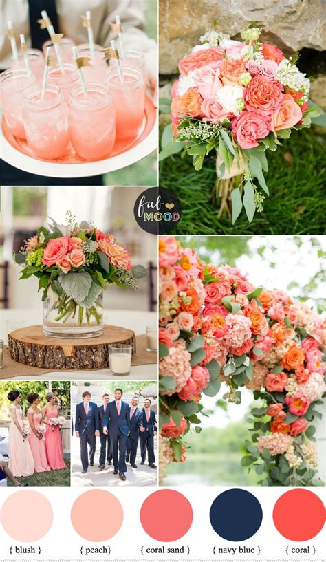Coral And Navy Blue Wedding Color Scheme Summer Wedding
