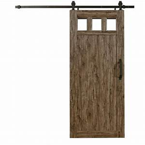 pinecroft 36 in x 84 in millbrooke weathered grey 3 lite With 36 inch sliding barn door