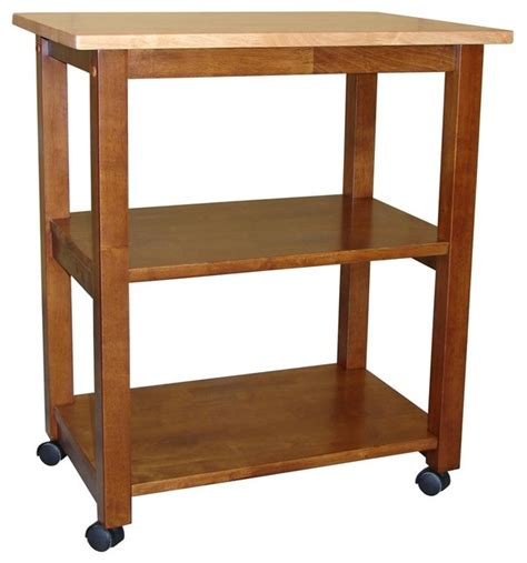solid wood microwave cart  casters traditional