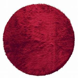 tapis rond poils longs 90cm marmotte rouge achat vente With tapis rouge rond