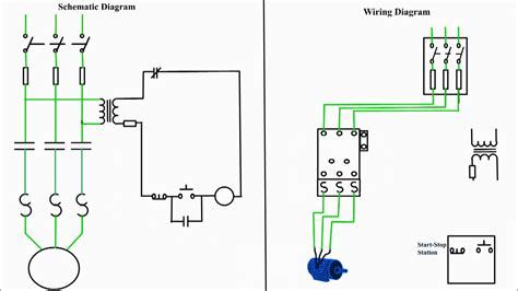 motor starter diagram start stop  wire control starting