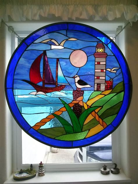 stained glass lighthouse l pin stained glass lighthouse stepping stones on pinterest