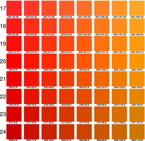 orange paint color chart pantone orange chart google search pin it girls