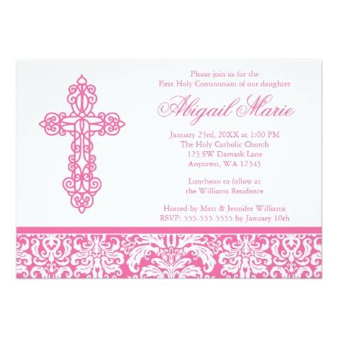 Pink Ornate Cross Damask Girl First Holy Communion