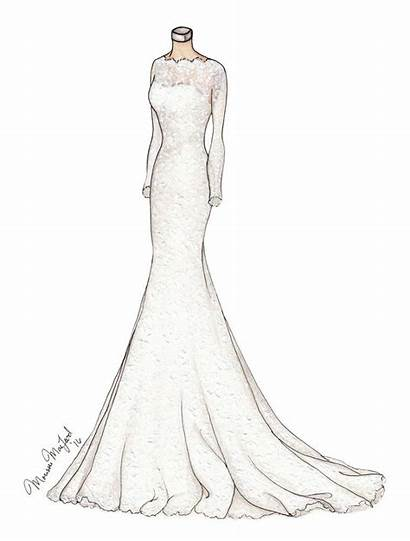 Lace Sketches Drawings Gown Dresses Illustration Draw