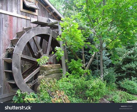 Old Mill With Water Wheel The Woods Stock Photo
