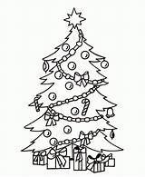 Coloring Tree Christmas Pages Printable Presents Holiday Children sketch template