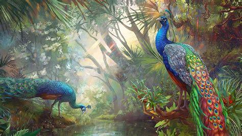 art, Oil, Painting, Drawing, Terrific, Peacocks, Paradise ...